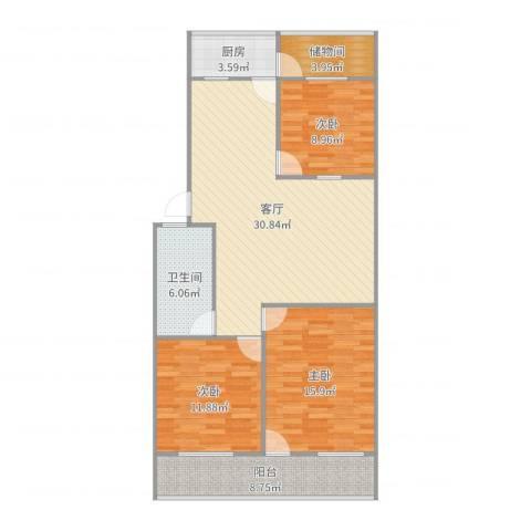 建鑫花园3室1厅1卫1厨89.94㎡户型图