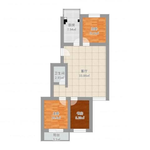 昊文温泉家园3室1厅1卫1厨95.00㎡户型图