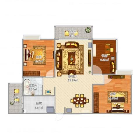 锦绣银湾3室2厅1卫1厨112.00㎡户型图