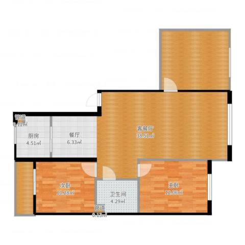 香山美墅2室2厅1卫1厨108.00㎡户型图