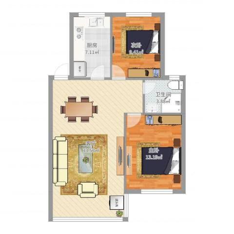 九峰小区太平洋花园2室1厅1卫1厨67.11㎡户型图