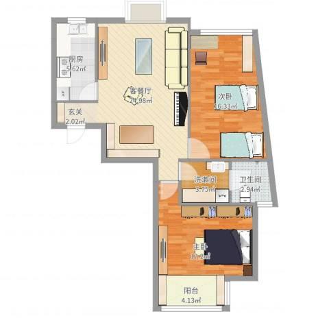 博雅德园2室2厅1卫1厨89.00㎡户型图