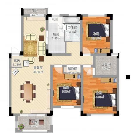 凡尔赛公馆3室2厅2卫1厨112.00㎡户型图