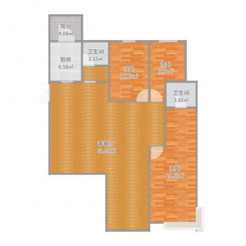 碧桂园别墅3室2厅3卫1厨158.00㎡户型图