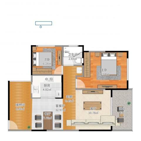 建大领秀城2室2厅1卫1厨82.00㎡户型图