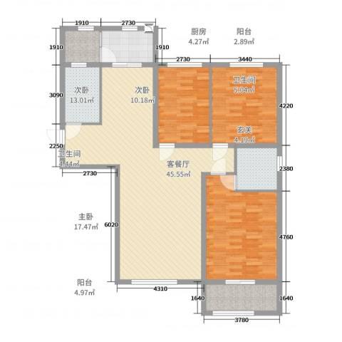 幸福里铂郡3室2厅2卫1厨135.00㎡户型图