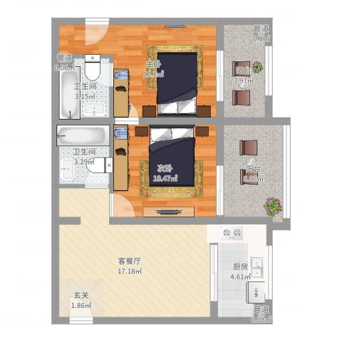 杰信花园2室2厅2卫1厨76.00㎡户型图