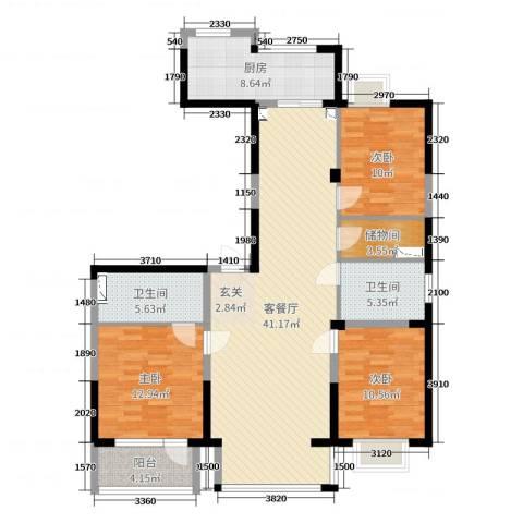 和顺中央花城3室2厅2卫1厨128.00㎡户型图
