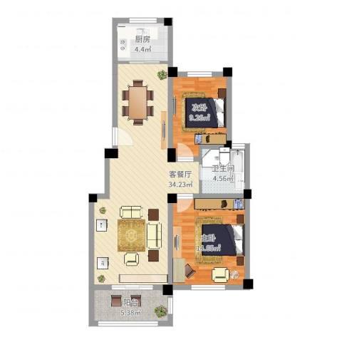 清城美墅2室2厅1卫1厨104.00㎡户型图
