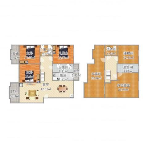 翰林世家3室1厅2卫1厨237.00㎡户型图