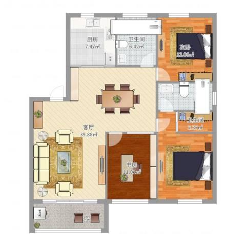 锦港佳园2室1厅2卫1厨130.00㎡户型图