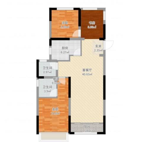 雅戈尔新东城2室2厅2卫1厨101.00㎡户型图