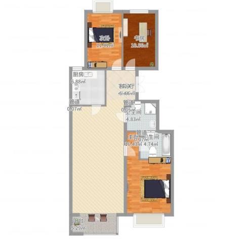 鄞州同心苑3室2厅2卫1厨140.00㎡户型图
