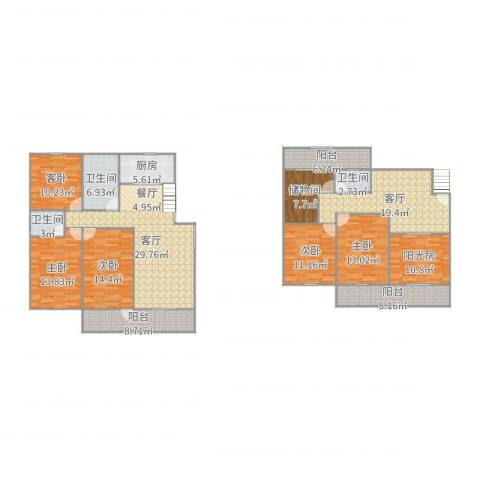 新湘苑5室2厅3卫1厨215.00㎡户型图