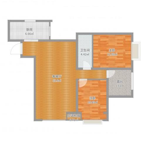 阳光满庭2室2厅1卫1厨92.00㎡户型图