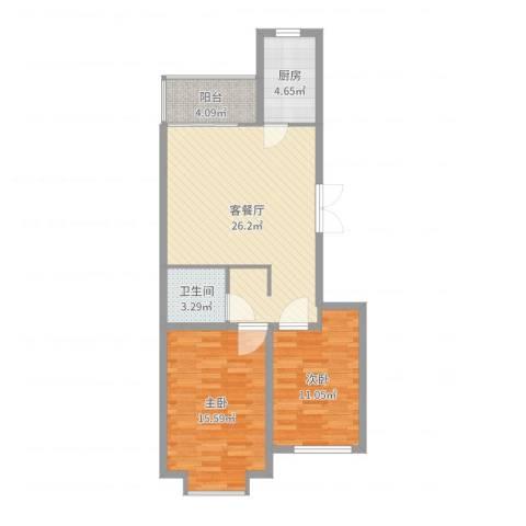 国泉城2室2厅1卫1厨81.00㎡户型图