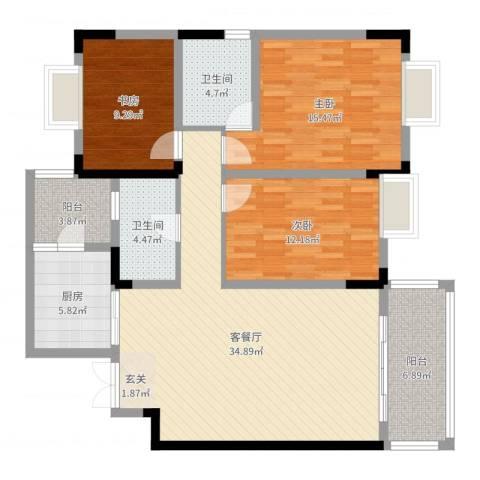 新城市花园3室2厅2卫1厨122.00㎡户型图