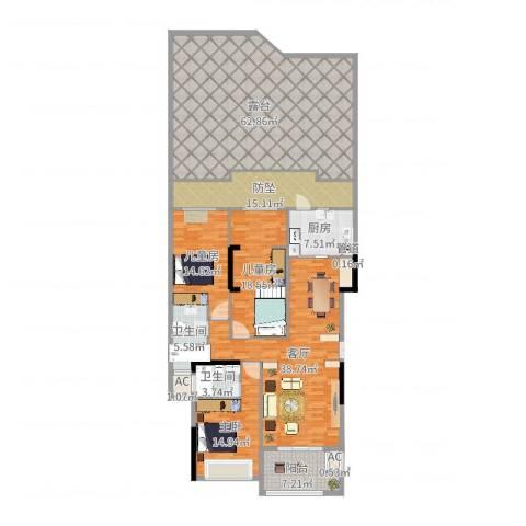融耀江滨御景3室1厅2卫1厨238.00㎡户型图