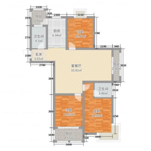 英伦华府3室2厅2卫1厨120.00㎡户型图