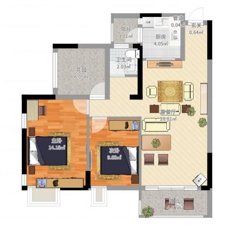 富盈都市华府2室2厅1卫1厨101.00㎡户型图