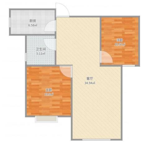 牡丹花园2室1厅1卫1厨89.00㎡户型图