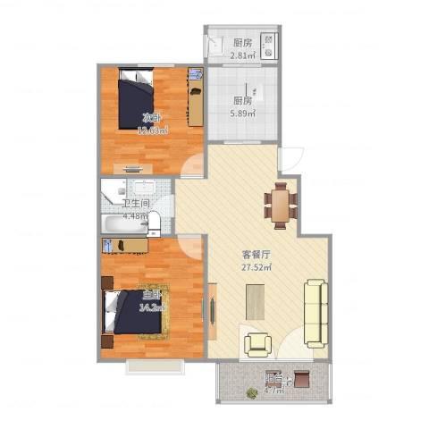 美域澜苑2室2厅1卫2厨90.00㎡户型图