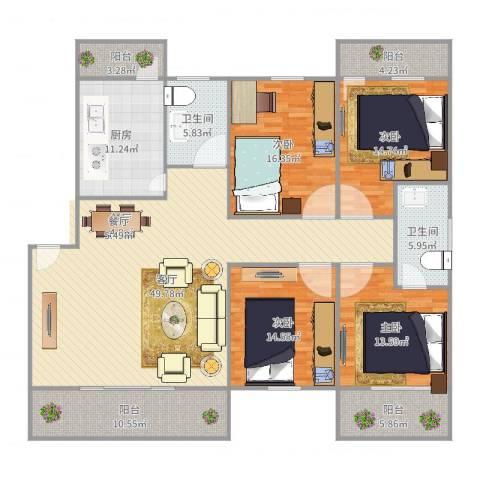 建发花园4室1厅2卫1厨195.00㎡户型图