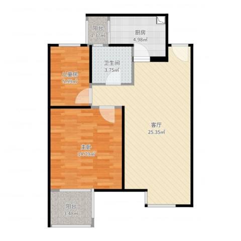 嘉定新城2室1厅1卫1厨59.70㎡户型图