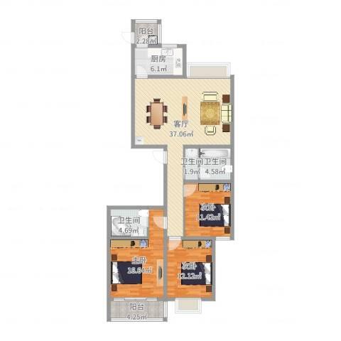 龙园小区3室1厅3卫1厨126.00㎡户型图