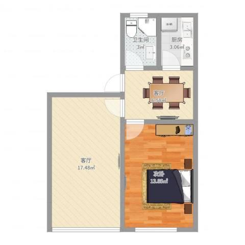 岭南路539弄1室2厅1卫1厨55.00㎡户型图