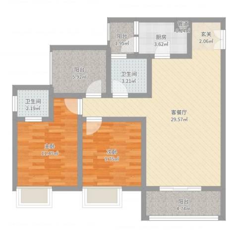 恒森・摩登时代2室2厅2卫1厨91.00㎡户型图