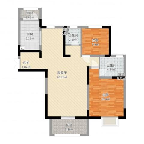 宏润花园2室2厅2卫1厨106.00㎡户型图