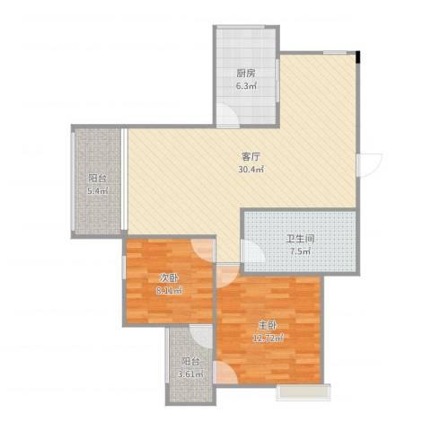 金科丽苑2室1厅1卫1厨93.00㎡户型图