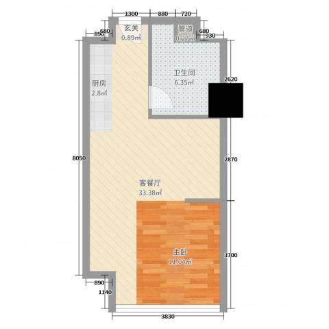高速滨湖时代广场金融中心2厅1卫0厨50.00㎡户型图