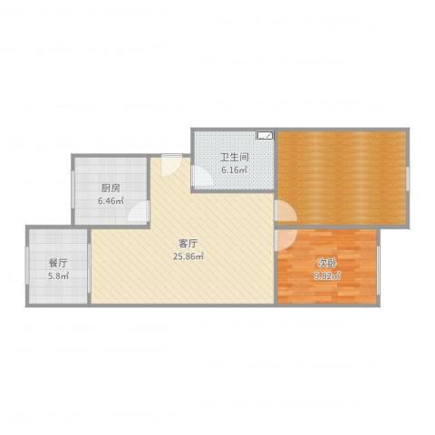 春山华居2室2厅1卫1厨70.02㎡户型图