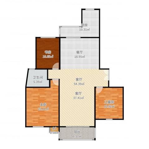 永达城市公寓3室1厅1卫1厨151.00㎡户型图