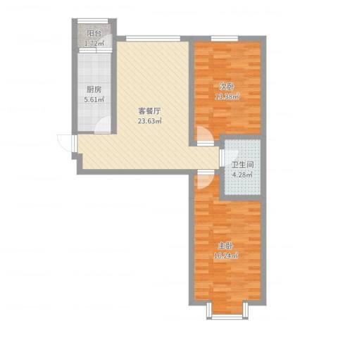 华茂名居2室2厅1卫1厨81.00㎡户型图