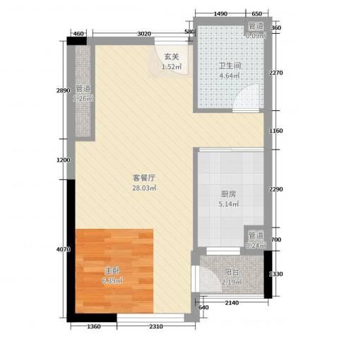 高速滨湖时代广场金融中心2厅1卫1厨52.00㎡户型图
