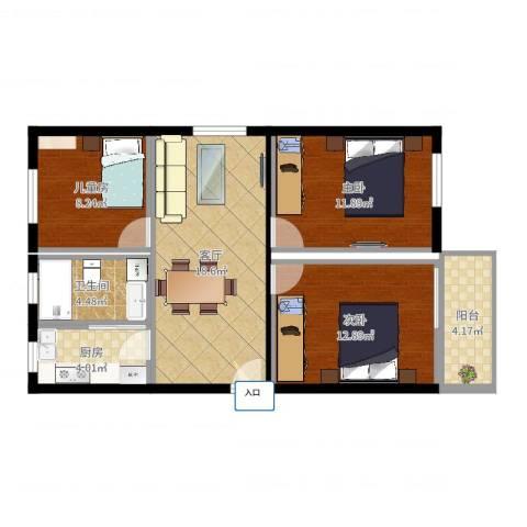 惠南文化新村3室1厅1卫1厨90.00㎡户型图