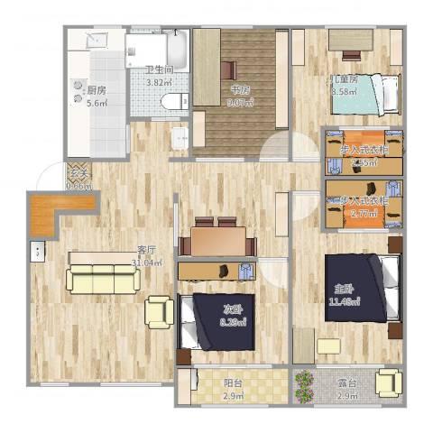 清涧四街坊4室1厅1卫1厨113.00㎡户型图