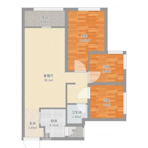 滨海俊园3室2厅1卫1厨88.00㎡户型图