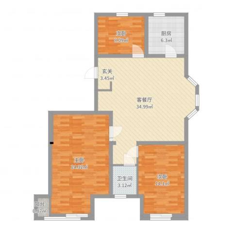 盛世景苑3室2厅1卫1厨115.00㎡户型图