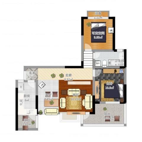 楠香山1室2厅1卫1厨107.00㎡户型图