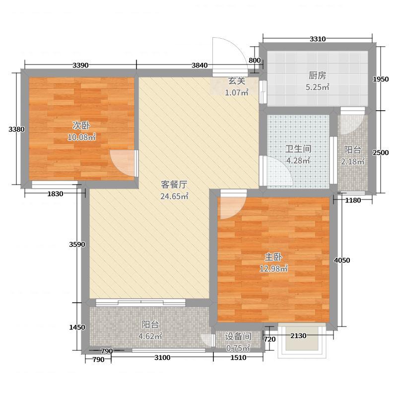 长安城81.00㎡A03户型2室2厅1卫1厨