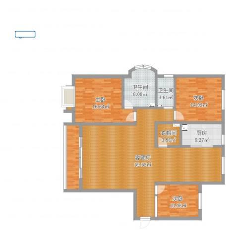 天阳御龙湾3室2厅2卫1厨162.00㎡户型图