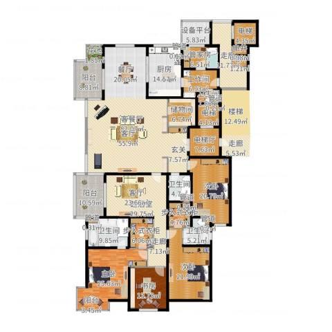 大华清水湾花园三期华府樟园4室2厅4卫1厨360.00㎡户型图