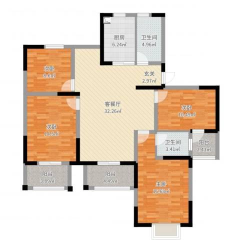 周新苑4室2厅2卫1厨135.00㎡户型图