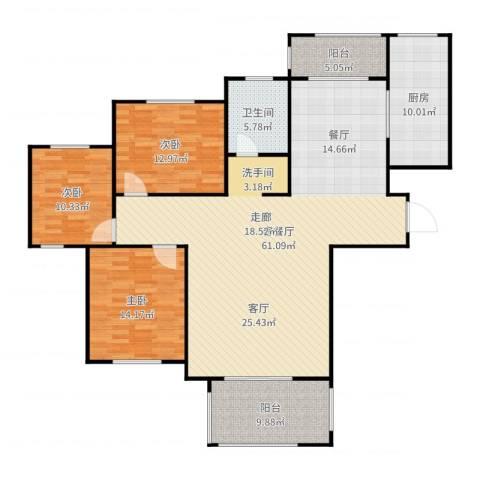 遂平建业森林半岛3室2厅1卫1厨162.00㎡户型图