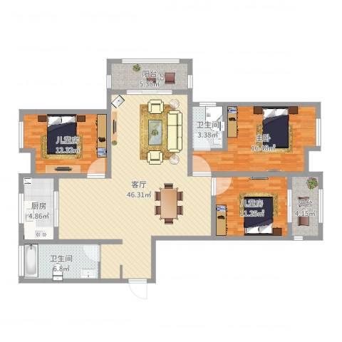 正通桂花苑3室1厅2卫1厨139.00㎡户型图