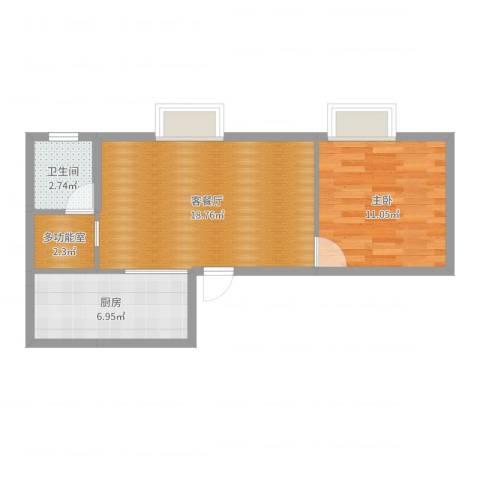 银厦翠竹庭院1室2厅1卫1厨52.00㎡户型图
